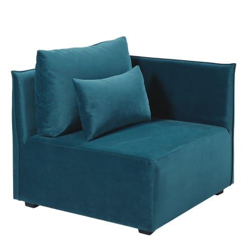 canapé Angle velours paon en bleu de jUSMpLGqzV