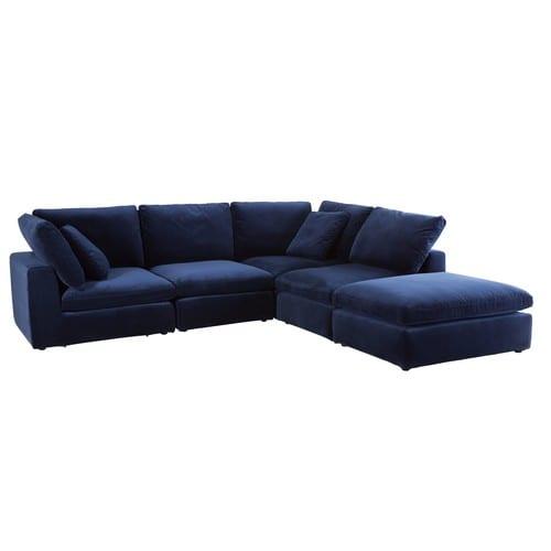 Angolo di divano componibile in velluto blu notte