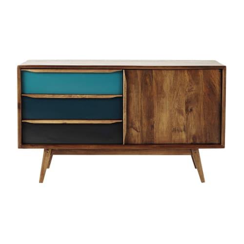 Anrichte im Vintage-Stil aus Mangoholz, blau