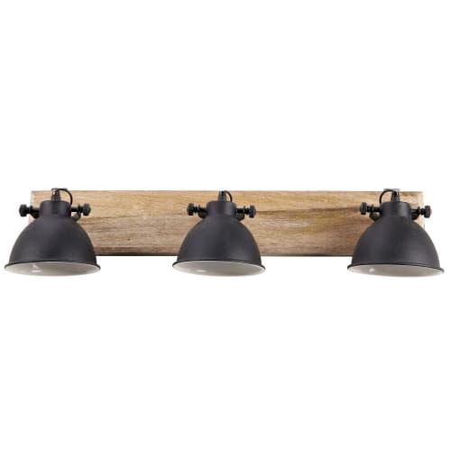 Applique 10 lampes en manguier et métal noir L.710cm  Maisons du Monde
