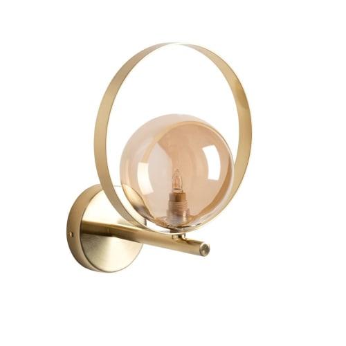 Applique boule en métal et verre doré  Maisons du Monde