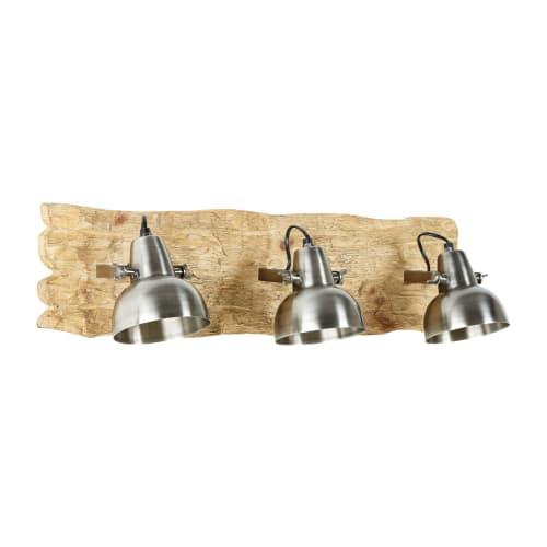 Applique en manguier 3 spots en métal brossé | Maisons du Monde