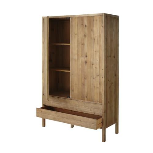 Armadio a 2 ante e 2 cassetti in legno di pino riciclato ...
