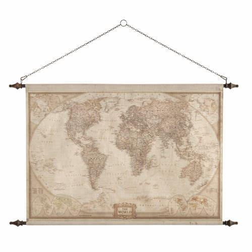 Cartina Mondo Da Parete.Arredo Da Parete Mappa Del Mondo 117x129 Cm Explorateur Maisons Du Monde