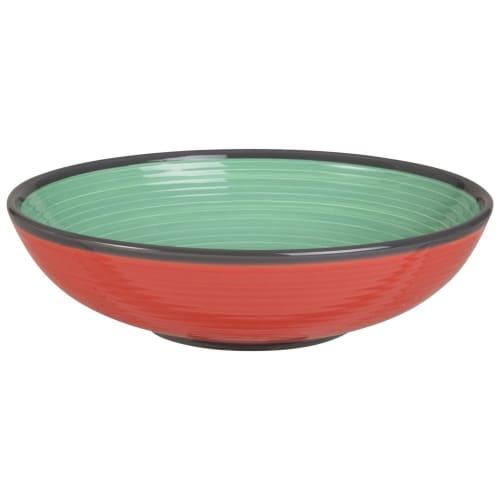 Assiette creuse en faïence verte et rouge  Maisons du Monde