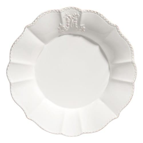 Assiette plate en faïence blanche  Maisons du Monde