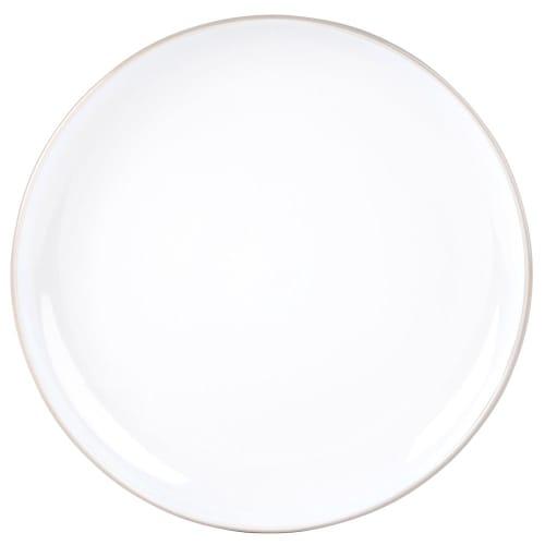 Assiette plate en faïence blanche et grise  Maisons du Monde