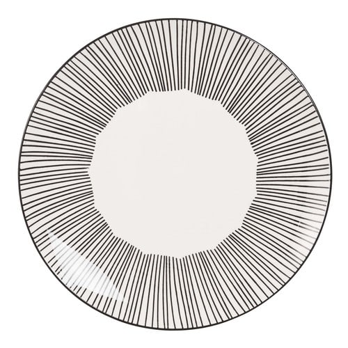 le dernier 6e1fa 5590b Assiette plate en faïence blanche motifs à rayures