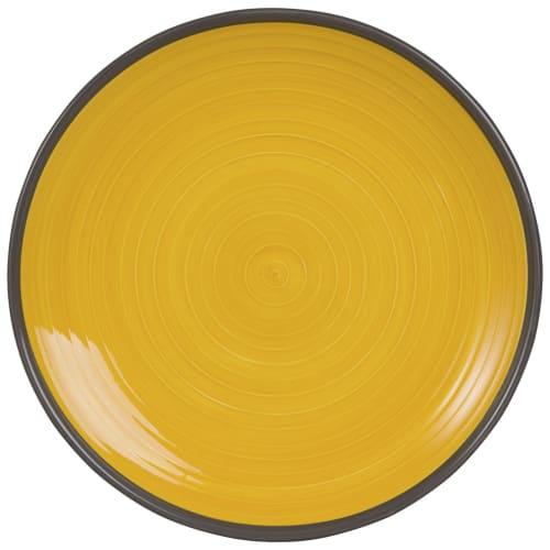 Assiette plate en faïence jaune  Maisons du Monde