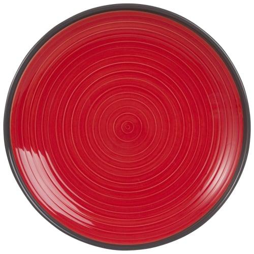 Assiette plate en faïence rouge  Maisons du Monde