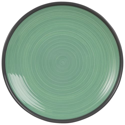 Assiette plate en faïence verte  Maisons du Monde