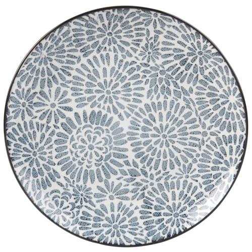 Assiette plate en grès blanc motifs graphiques bleus  Maisons du Monde