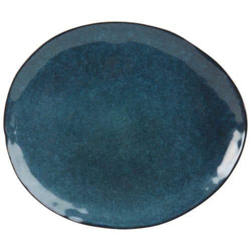 Assiette plate en grès bleu pétrole  Maisons du Monde