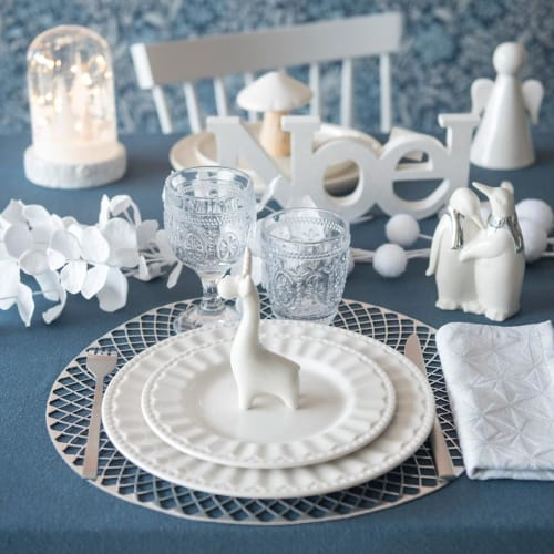 Assiette plate en porcelaine blanche  Maisons du Monde