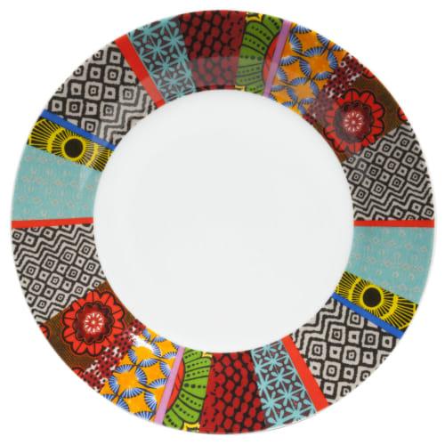 Assiette plate en porcelaine motifs graphiques multicolores  Maisons du  Monde