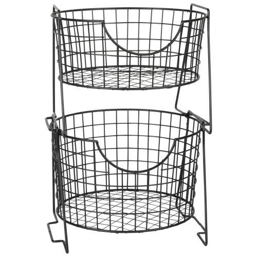 Aufbewahrungskorb für die Küche aus Metalldraht, schwarz