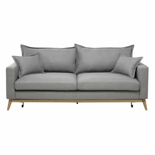 Ausziehbares 3 Sitzer Sofa Aus Stoff Hellgrau