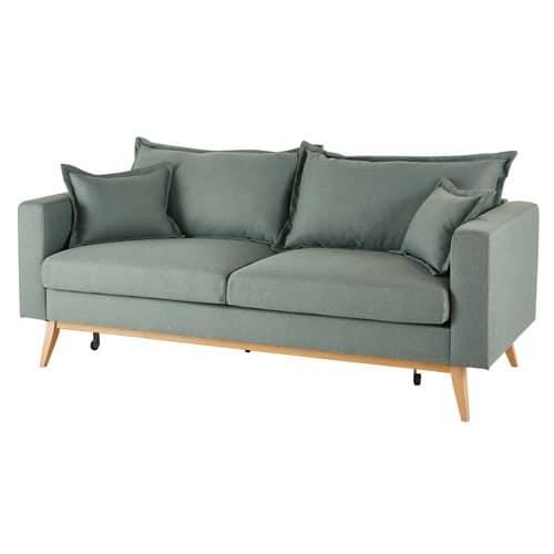 Ausziehbares 3 Sitzer Vintage Sofa Wassergrun