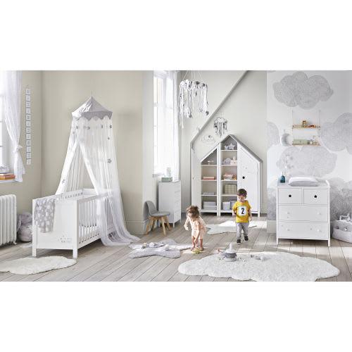 Babybed Aan Bed.Babybed Met Witte Spijlen L125
