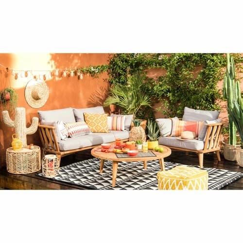 Banquette de jardin 2/3 places en acacia massif et coussins taupe