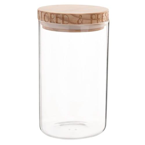 Barattolo in vetro con coperchio in pino, h 18 cm ...