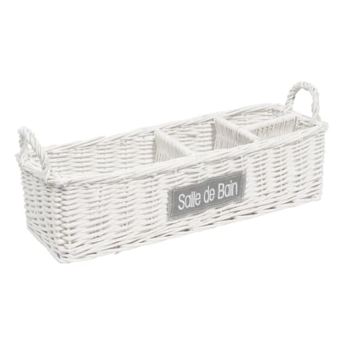 Bathroom Wicker Basket In White