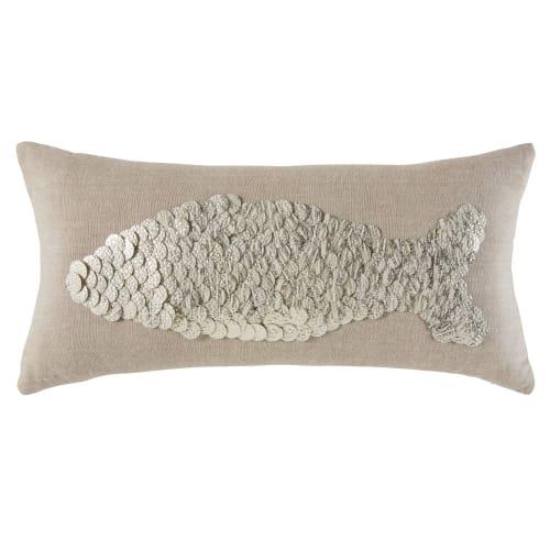 Baumwoll-Kissen mit Fisch-Motiv aus silbrigen Perlen 25x50