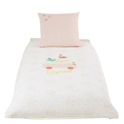 Baumwollbettwäsche für Kinder, rosa und weiß 140x200