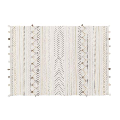 ZEN MARKET, Baumwolldecke von Maisons du Monde, ecrufarben mit Grafikmuster, 120×180