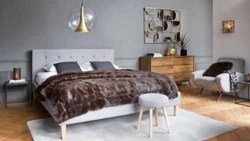 Bett Aus Holz Und Stoffgrau 160x200
