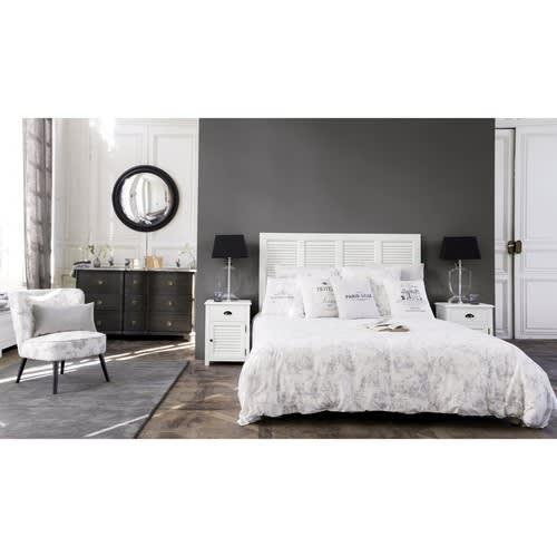 Bett-Kopfteil aus Holz, B 140 cm, weiß