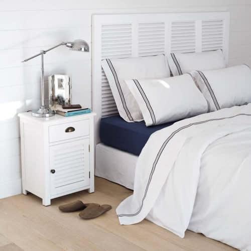 Bett-Kopfteil aus Holz, B 160 cm, weiß