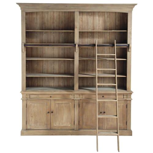 Bibliothèque 10 tiroirs 10 portes et échelle en pin recyclé  Maisons du Monde