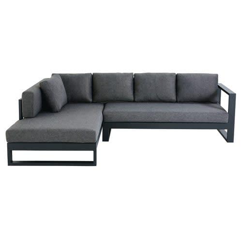 Black 4/5-Seater Aluminium Garden Corner Sofa
