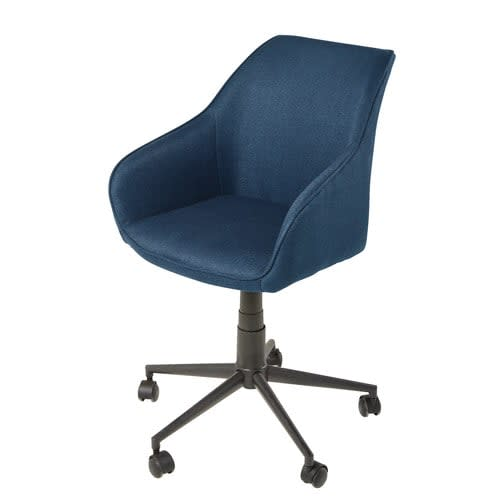 Outstanding Black And Blue Metal Wheeled Adjustable Office Chair Download Free Architecture Designs Scobabritishbridgeorg