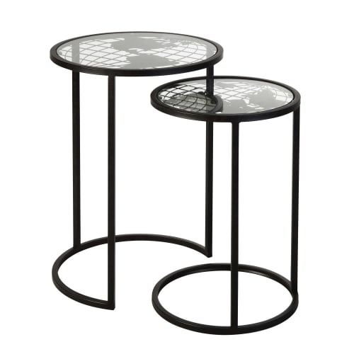 Black Metal And Gl Side Tables With