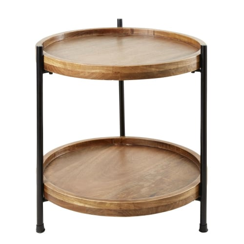 Metal Legs Solid Mango Wood Log Slice 50 cm Tall Relaxdays Side Table Tray Natural Rustic Design