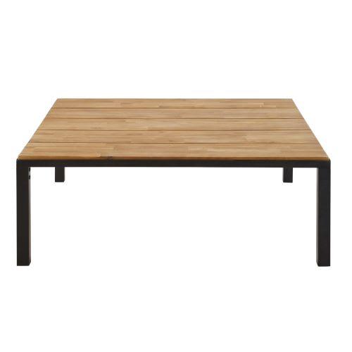Table De Salon Maison Du Monde.Black Metal And Solid Acacia Garden Coffee Table