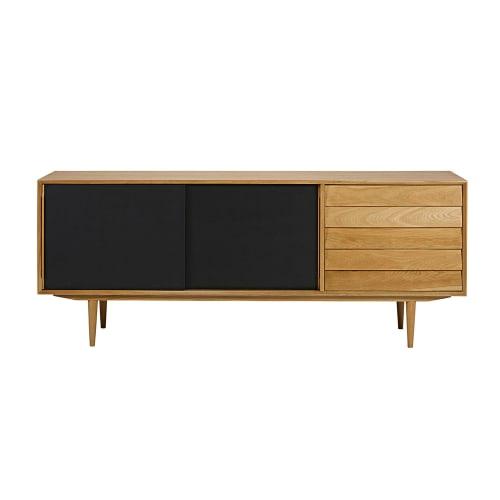 black vintage 3 door sideboard sheffield maisons du monde. Black Bedroom Furniture Sets. Home Design Ideas