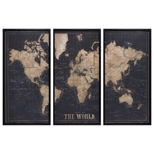 carte maison du monde Black World Map Triptych Frame 180x120 Explore | Maisons du Monde