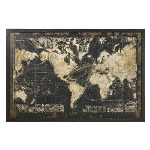 carte du monde maison du monde Black World Map with Light Up Frame 180x120 Prescott | Maisons du