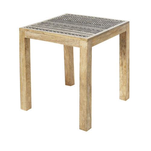 100% authentic e2b09 c057d Blackened Carved Mango Wood Side Table