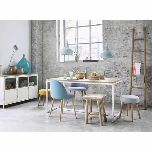 blauwe vintage stoel van massief berkenhout mauricette. Black Bedroom Furniture Sets. Home Design Ideas