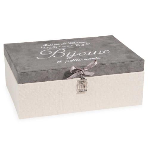 Boîte à bijoux beige et grise  Maisons du Monde