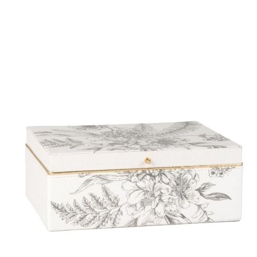 Boite A Bijoux Blanche Imprime Floral Bleu Eugenie Maisons Du Monde