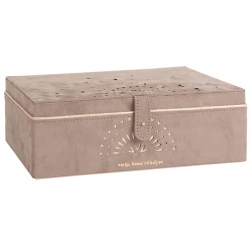 Boîte à bijoux effet velours marron à motifs ajourés  Maisons du Monde