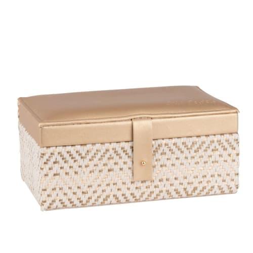 Boîte à bijoux tressée bicolore en velours beige  Maisons du Monde