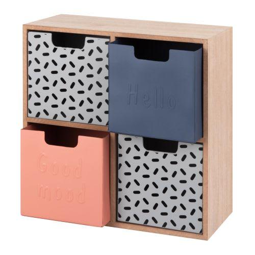 Boîte de rangement 4 tiroirs en métal à motifs   Maisons du Monde