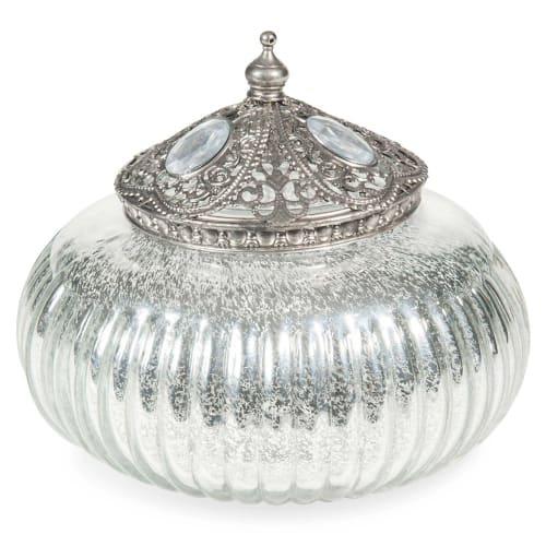 Argent rond en verre décoratif Boîte