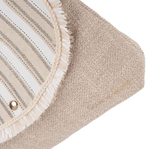 Borsa a tracolla in cotone beige motivi a righe | Maisons du